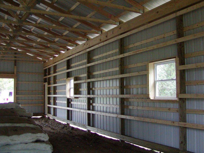 87 Pole Barn Interior Wall Framing Insulating Inside The Girts Pole Building With Clean